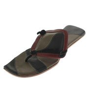 RZ Design Womens Clementine Leather Patchwork Thong Sandals