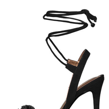 Liria Fringe Lace Up Heels (Black)