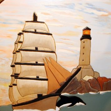 Ship and Lighthouse, Wood Sculpture Wall Hanging Art