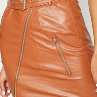 Tan Biker Belted Mini Skirt