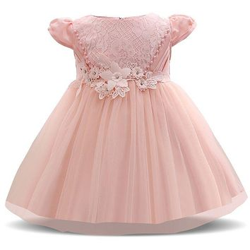 Sweet Pink Princess Girl Dress Little Baby Baptism Clothes Infant Christening Gowns Bebes Newborn Baby Gir 1 Year Birthday Dress