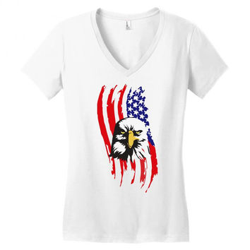 american eagle usa flag head V-neck tee