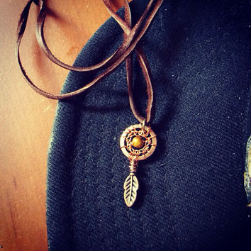 Mini Dream Catcher Necklace with Tiger's Eye // Hippie Boho Jewelry