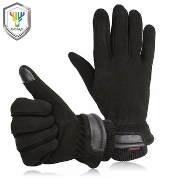 OZERO Men's Work Gloves Deerskin Winter Warm Driver Windproof Security Protection Wear Safety Working Racing Gloves 8012
