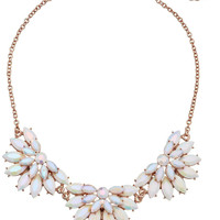 White and Gold-Tone Station Statement Necklace, 16""