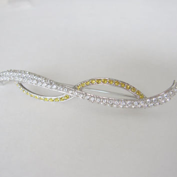 Vintage Signed Swarovski Ribbon Bow Swirl Crystal Brooch Pin Rhinestone Yellow diamond Crystals Wedding Bridal Sash or Belt Mad Men style