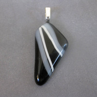 Black and White Pendant, Sliders, Modern Jewelry, Striped Jewelry - Electra - 3636 -2