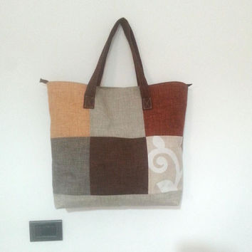 weekender bag with patchwork pattern, extra large tote bag, overnight bag