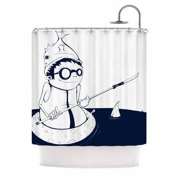 "Matthew Reid ""5; In Navy Blue"" Nautical llustration Shower Curtain"