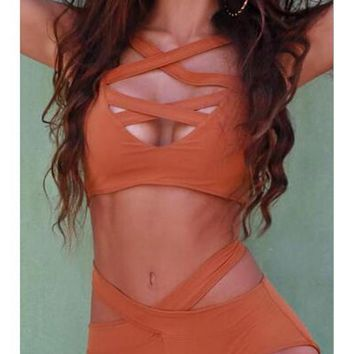 Orange Cut Out Shoulder-Strap Two Piece High Waisted Bikini Swimwear
