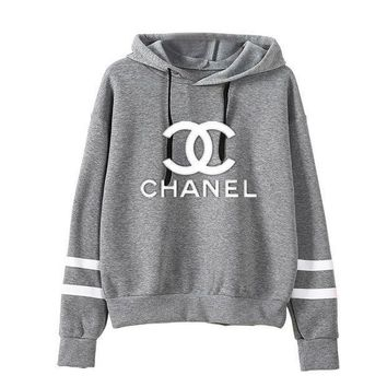 """Chanel"" Popular Women Leisure Print Stripe Long Sleeve Hoodie Sport Sweater Sweatshirt Pullover Top Grey I"