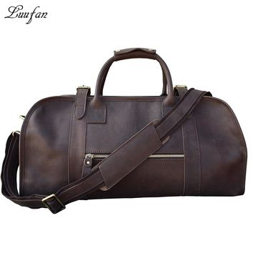 Men's Crazy horse Leather travel duffle brown real leather travel bag Cow Leather weekend bag Vintage shoulder bag Tote bag