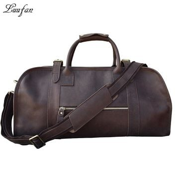 Men's Crazy horse Leather travel duffel real leather travel bag Cow Leather weekend bag Vintage shoulder bag Tote bag