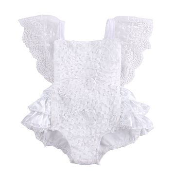 Baby Girls Sleeveless Lace Bodysuit Sunsuit Outfits