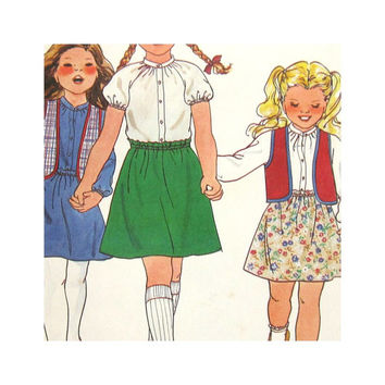 Vintage 1970s Butterick 6608 Uncut Pattern Girls 's Dress, Blouse, Skirt and Vest Size 6X