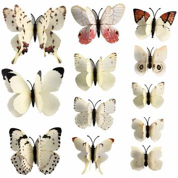 12 Pcs/Lot PVC 3D Magnet Butterfly Wall Stickers Butterflies Decors for Wedding Party Home Kitchen Fridge Decoration D0029-2