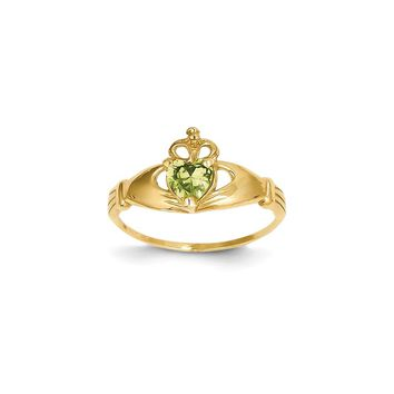 14k Yellow Gold CZ August Birthstone Claddagh Heart Ring