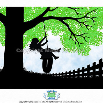 Spring Girl silhouette on swing with green tree print nursery 8 x10