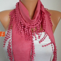 Amaranth Scarf  Women Pashmina  Scarf  - Cotton Scarf -  Cowl with Lace  Edge - fatwoman