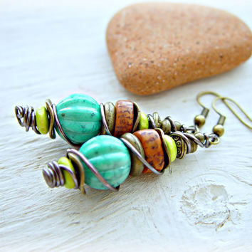 Boho Turquoise Earrings - Boho Turquoise Jewelry - Boho Hippie Earrings - Hippie Earrings - Ethnic Earrings - African Earrings