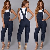 Fashion Women Ladies Baggy Denim Jeans Bib Full Length Pinafore Dungaree Overall Solid Loose Causal Jumpsuit Pants Summer Hot
