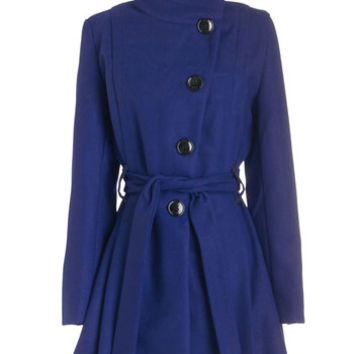 Steve Madden Long Long Sleeve Winterberry Tart Coat in Blueberry
