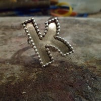 Authentic Navajo,native American,Southwestern sterling silver Personalized initial letter,alphabet,signet ring.Made to order.