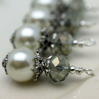 Vintage Style Bead Dangle Charm Drop Set in White Pearl and Olive Luster AB Crystal