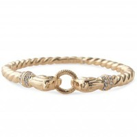 Gold & Glass Stone Lion Head Cast Rope Bracelet | Chimera Bangle | Stella & Dot
