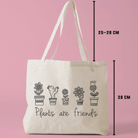 TBAG-421 - Plants Are Friends - Printed Tote Bag Canvas - by HeartOnMyFingers