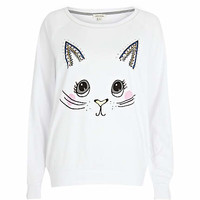 White cat face print dolman top - sweaters / hoodies - t shirts / tanks / sweats - women