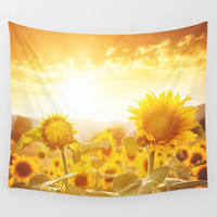majestic sunflower field Wall Tapestry by Franckreporter