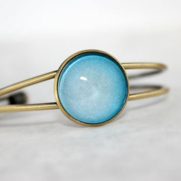 Uranus  Bracelet, Antique Bronze Bracelet, Glass Cabochon, Galaxy Jewelry