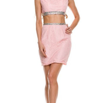 PR166035 Lace Cap Sleeve Two Piece Homecoming Cocktail Dress