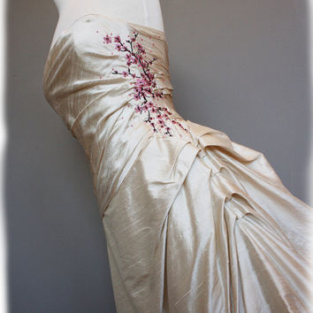 Cherry Blossom Wedding Dress Pink and Brown on Pearl by AvailCo