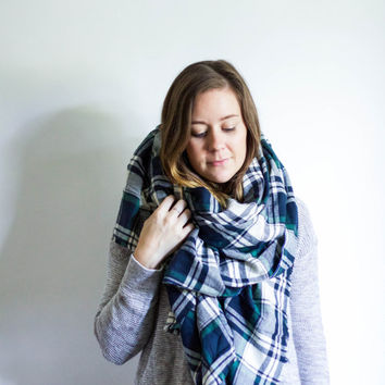 Large Flannel Blanket Scarf Fringe Plaid Shawl | ADVENTURE