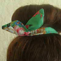 "Wire Bun Wrap, Top Knot Wire Teal with Large Floewrs ""Mini"" Dolly Bow Wire Headband Ponytail Hair tie Hair Bun Tie Wrap"