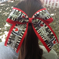 One Direction Zebra on Red  Hair Bow/Cheer Bow