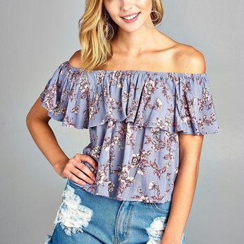 Women's Off Shoulder Layer Floral Top