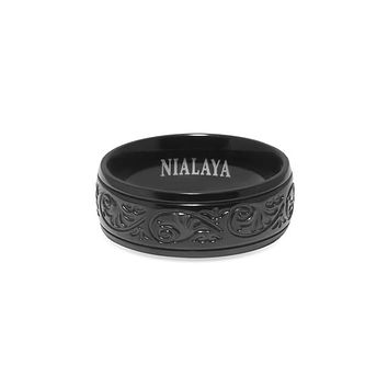 Men's Black Engraved Band Ring