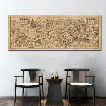 Map of The Wizarding World of Harry Potter Movie Wall Art Wall Decor Silk Prints Art Poster Paintings For Living Room No Frame