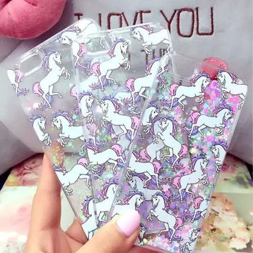 Dynamic Unicorn Bling Glitter Case Quicksand Cover For iphone 5c 5s SE 6 6s 6 7 plus Unicorn Crystal Phone Back Cover Capa Para