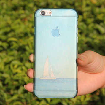 Crystal Transparent Sailboat Ocean iPhone 6 Case,iPhone 5S/5 Case,iPhone 5C Case Abstract Watercolor