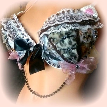 PURRRETTY KITTY ~ 34C or Made to Order rave and festival cat bra , fluffy lace up outfit for burning man, edc  + 2 free kandi bracelets