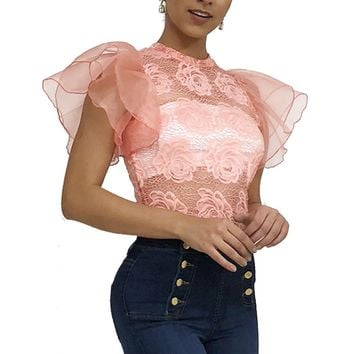 Angel Wing Shoulder Ruffle Floral Crochet Lace See Through Top