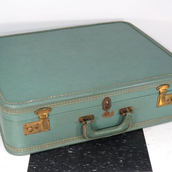 Vintage Stratosphere Suitcase + Key . Mid Century Luggage . Vintage Travel . Stacking Suitcase . Circa 1940s . Blue Green Seafoam Green