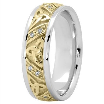 Wedding Band - 14K White and Yellow Gold Celtic Knot Diamond Wedding Ring 7mm