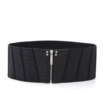 BCBG Paneled Zipper-Front Belt