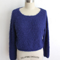 Vintage 90s Fluffy Blue Knit Cropped Sweater // Fuzzy Textured Knit Top