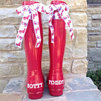 Ole Miss Game Day Rain Boots with Bows